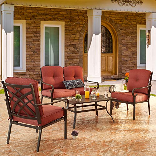 PatioFestival Patio Furniture Set 4 Piece Outdoors Sofas with 6.3 Inch Cushion Metal Bistro Conversation Set(Burgundy Red)