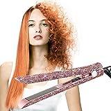 Rizador de pelo Plancha de pelo, rizador, Diamantes de recto Pantalla LCD digital de la tablilla de pelo que se endereza eléctrico Placa de cerámica húmedos y secos 50-243 □ Control de Temperatura