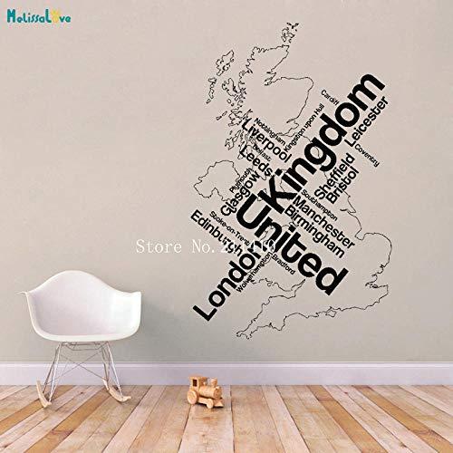 cooldeerydm Muursticker Kaart Londen Unied Koninkrijk Engeland Engels Steden Stickers Home Decor voor Woonkamer Kantoor Zelfklevende Muren YT733