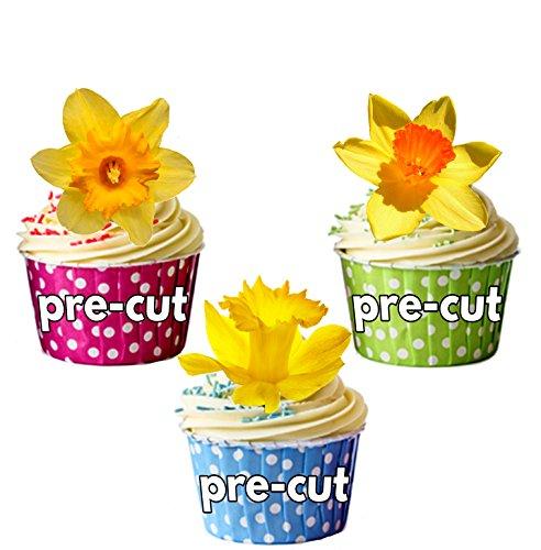 Jonquilles prédécoupées Printemps/Pâques – Décoration comestible pour cupcakes/gâteau (lot de 12)