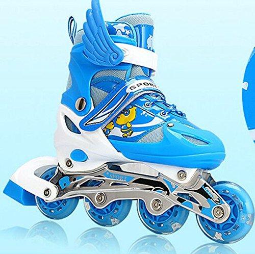 『ローラースケート 大人用/キッズ・子供用インラインスケート ローラーシューズ スポーツウェア 四輪発光 ブルーLJT1』の1枚目の画像