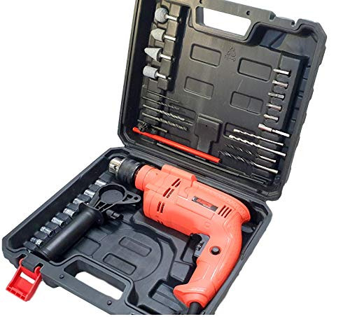 Cheston Electric Drill Machine & Screwdriver Kit 13mm Chuck Hammering, Forward, Reverse & Speed Control with Multiple Tools 650W (CHD-TZ004)