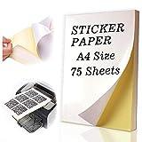 Happlee Étiquette Universelle Imprimable 65 pièces 210 x 297 mm, Autocollant Brillant, Papier Autocollant Blanc, Imprimable pour imprimante Laser et Jet d'encre - 100 Autocollants Auto-adhésifs A4