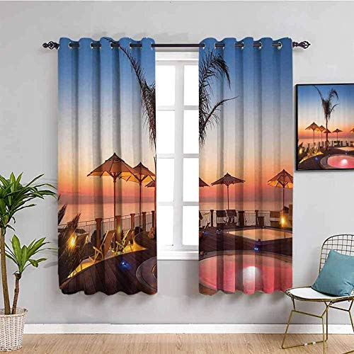 ZLYYH Living Room Curtains Sunset pool resort scenery W110 xL94 Blackout Curtain, 2 Panels Room Darkening Blackout Window Curtain Light Block Thermal Insulated Liner Drape with Grommets for Kids Bedr
