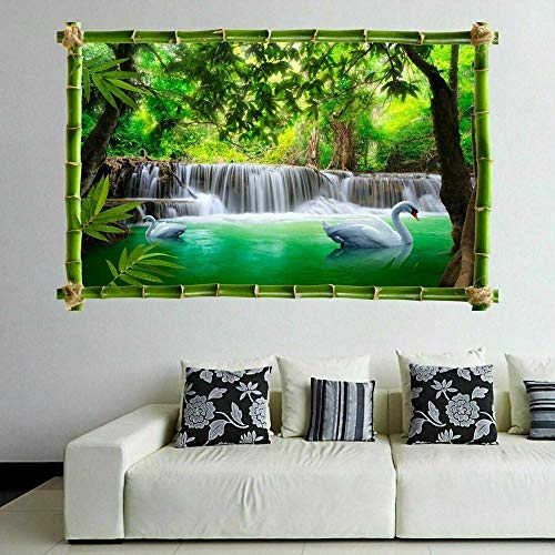 Pegatinas de pared Cascada bosque Swan River 3D pared arte pegatina mural calcomanía cartel naturaleza