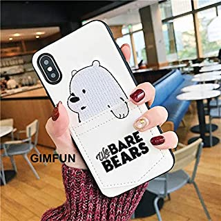 Maxlight Luxury Pu Leather Cartoon Bear Phone Case for iPhone 6 Xs XS MAX XR 7 8 Plus Soft TPU Cover with Card Pocket Bags Fundas (White, for iPhone 7plus 8plus)