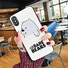 Maxlight Luxury Pu Leather Cartoon Bear Phone Case for iPhone 6 Xs XS MAX XR 7 8 Plus Soft TPU Cover with Card Pocket Bags Fundas (White, for iPhone XR)