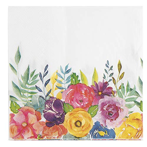 Floral Paper Napkins for Bridal Shower, Birthday Party (6.5 Inches, 100 Pack)