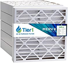 Tier1 Pleated Air Filter - 24x25x4 - MERV 8 - Replacement AC Furnace Air Filter - Reduces Harmful Airborne Particles for Improved Air Quality - 6 Pack