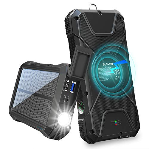 BLAVOR Solar Charger Power Bank 18W, QC 3.0 Portable Wireless Charger 10W/7.5W/5W with 4 Outputs & Dual Inputs, 20000mAh External Battery Pack IPX5 Waterproof with Flashlight & Compass (Black)