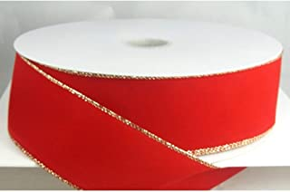 Wired Traditional Red with Gold Edges Velvet Christmas Ribbon 2 1/2