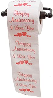 JustPaperRoses Happy Anniversary Printed Toilet Paper Gag Gift, Funny Novelty Anniversary Present for Him or Her