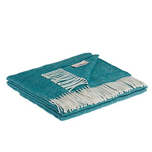 LANEROSSI Plaid Valeria, Baumwollmischung, grün Meer, 130x 170x 1.5cm