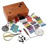 Sharplace Kit de Costura Profesional con Caja de Madera Hilos Agujas Accesorios de Costura - B, Individual