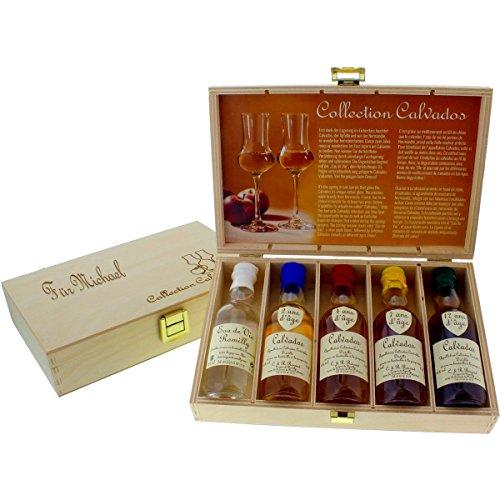 Calvados Collection - 5 rustikale Apfelbrand-Miniaturen mit Ihrer Personalisierung auf der feinen Holzkiste