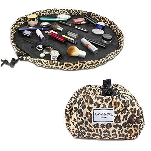 Lay-n-Go Drawstring Makeup Bag – Leopard Pattern, 20 inch - Travel Cosmetic Bag and Jewelry, Electronics, Toiletry Bag – Perfect Holiday Gift
