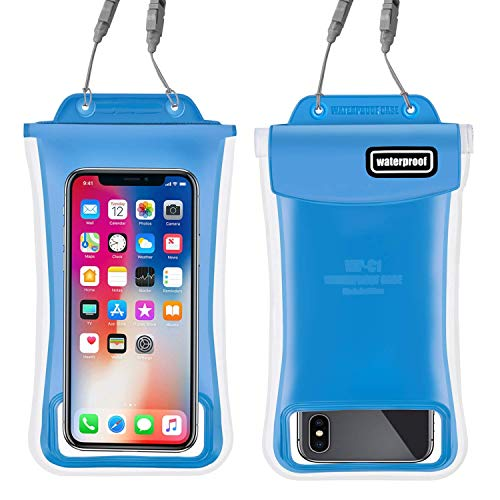 Waterproof Phone Pouch,2Pack Floating Gihery Universal Cellphone Waterproof Pouch Case IPX8 Certified Dry Bag Compatible with iPhone XsMax/Xs/Xr/X/8Plus/8/7Plus/7/6s/6 Samsung Galaxy S10/S9 (Blue)