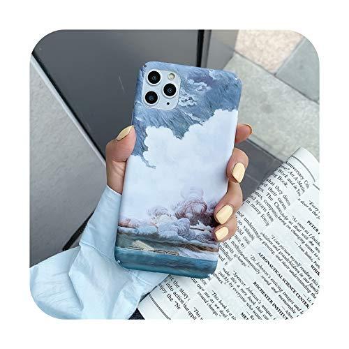 Starry Sky Scenery Funda para iPhone 11 Pro Max XS Max XR X 6 6S 7 8 Plus Utral Delgado Completo Hard PC Cubierta Trasera de Plástico - IU0775-Para iPhone 8 Plus