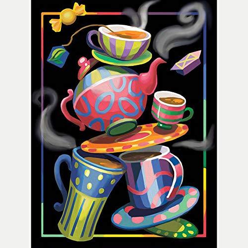 Diamante Pintura Kits, Punto de Cruz Diamante Principiante, Diamond Painting Completo Bordado Punto de Cruz, Taza de té colorida taza de caféDecoración de la pared del 30 x 40 cm