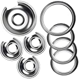 Burner Drip Bowl 1 Large 8'' WB32X10013 & 3 Small 6'' WB32X10012 Chrome Drip Pan Set 4-Pack Fits for GE Electric Range by APPLIANCEMATES Replacement Parts (3) 6' Pan/Ring & (1) 8' Pan/Ring