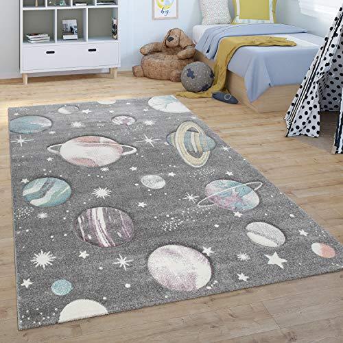 Paco Home Alfombra Infantil De Juegos Habitación Infantil, Diseño Universo, Verde Azul, tamaño:80x150 cm
