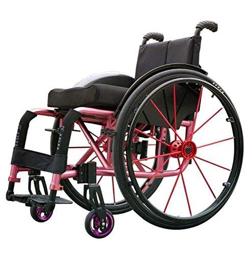 Oudere mindervaliden sport-rolstoelen licht vouwen ergonomische comfortabele armleuningen schommel, roze, Y-L