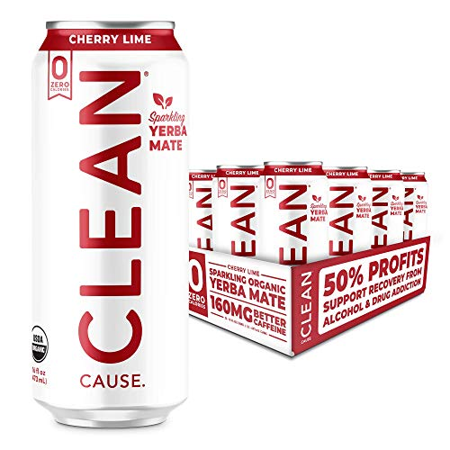 Cherry Lime Organic Sparkling Yerba Mate Tea - Zero Calorie, Zero Sugar, Zero Guilt, (160mg Caffeine), 16oz cans, 12-pack - CLEAN Cause - 50% Profits Support Alcohol & Drug Addiction Recovery