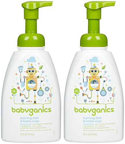 Babyganics Foaming Dish & Bottle Soap - Fragrance Free - 16 oz - 2 pk