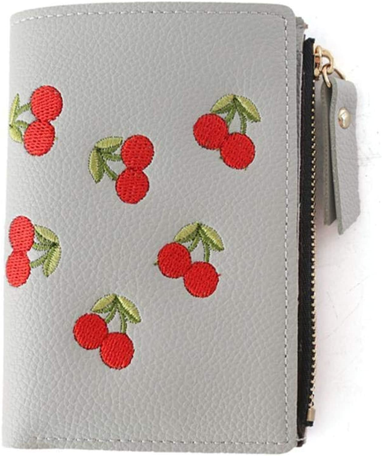 Girls Purse Women's Buckle Embroidery Short Small Clip Student Simple Fashion Wallet 9.5  12.5  3cm (color   B)