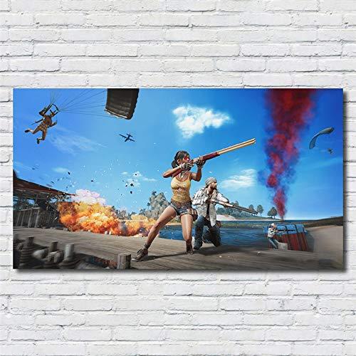 SDFSD PUBG 3D Online FPS Taktisches Wettbewerbsspiel Charakter Poster Wohnzimmer Wohnkultur Kinderzimmer Kinderzimmer Wandkunst Leinwand Malerei 60 * 100cm