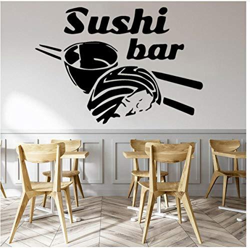 Sushi Vinyl Muurstickers Keuken Koelkast Art Decor eetstokjes Rijst Muurstickers Home Decoratie voor Restaurant 42x29cm