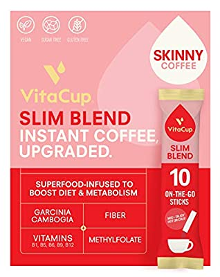 VitaCup Slim Coffee Instant Stick Hot or Cold Brew for Skinny Diet & Metabolism w/ Vitamins, Garcinia, Ginseng, & Inulin in 10 ct. Single Serve Packets