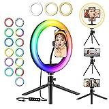 GerTong Aro de Luz LED con 12 RGB Colores, 10' Anillo de luz Selfie con 2 Trípodes, aro luz movil con 3 Modo y 13 Brillo para Transmisión en Vivo, Youtube, Tiktok, Maquillaje, Fotografía