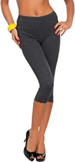 Rimi Hanger Womens 3/4 Length Lace Trim Cropped Ladies Fitted Jog Trousers Jeggings Leggings