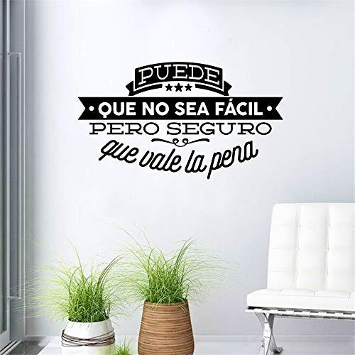 Pegatinas de pared para la ventana de la sala de estar, arte del tatuaje de pared, frase inspiradora famosa española de vinilo decorativo para pared 50x29 cm