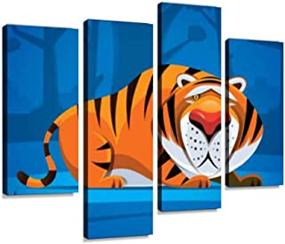 4 Panel lonely tiger in jungle boring stock illustrations Canvas Pictures Home Decor Gifts Canvas Wall Art for your Living...