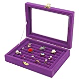 LANTWOO Velvet Glass Jewelry Ring Display Stand Storage Box Ring Earrings Jewelry Box Ring Holder Case