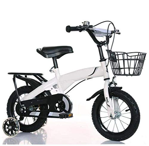 COUYY Neue Kinderfahrrad Junge blinkendes Rad mit Rücksitz Männer und Frauen Kinderwagen Kinderfahrrad,Weiß,16...