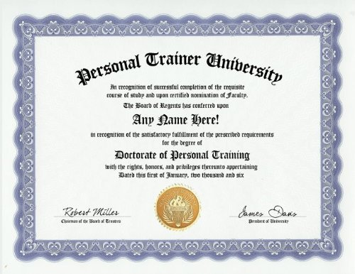 Personal Trainer Training Degree: Custom Gag Diploma Doctorate Certificate (Funny Customized Joke Gift - Novelty Item)