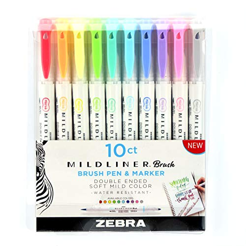 Zebra Pen Mildliner Double Ended Brush and Fine Tip Pen, Assorted Colors, 10-Count
