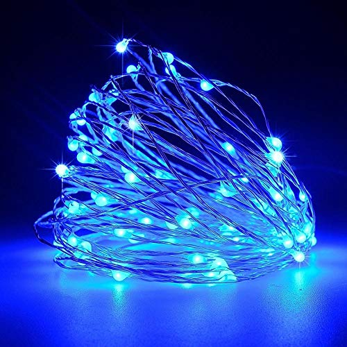 AdoDecor Dimmable Blue LED Outdoor Solar String Lights Fairy Holiday Christmas Party Garland Solar Garden Waterproof Lights 6m 50leds