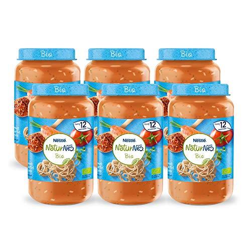NaturNes Bio Volkoren Spaghetti Tomaat Wortel Rundvlees - babyvoeding biologisch - vanaf 12 maanden - 6 stuks