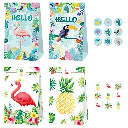 Hileyu 12 Pezzi Sacchetti Regalo di Carta hawaiani Sacchetti di Carta Borsa da Festa Forniture per Feste a Tema Tropicale Sacchetti di Carta per Bambini Feste di Celebrazione con Etichette Adesivi