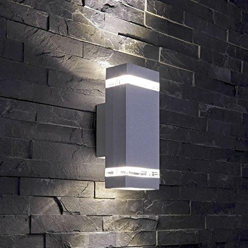 Lumière murale carrée bas/haut - Halogène LED encastré - Notée GU10, Silver - Square, Pack of 1