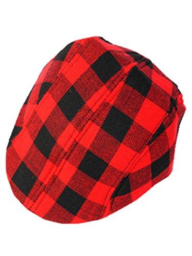 YICHUN Enfant Garçon Fille Chapeau Carreau Béret Casquette Classique Chapeau de Base-Ball Bonnet (Noir Rouge 5#)