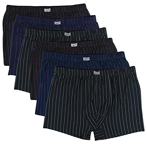 ReKoe 6er Pack Herren Übergröße M L XL 2XL 3XL 4XL 5XL 6XL 7XL 8XL Boxershorts Baumwolle Streifen Unterhosen, Größe:7XL