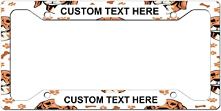 Custom License Plate Frame Serbian Hound Dog Breed Style B Aluminum Cute Car Accessories Wide Top Personalized Text Here One Frame