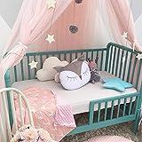Nibesser Baldachin für Kinder/Babys 100% Polyester Gewebe Romantischer Betthimmel Moskitonetz Kinderbett für Kinderzimmer Hohe 240cm (Rosa) - 4