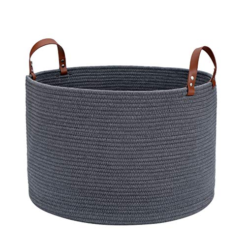 """Large Baskets for Storage Cotton Rope Basket Laundry Basket Hamper- Hombins Woven Toy Bin Blanket Holder XXL Grey Collapsible Laundry Basket with Leather Handle, 20""""X20""""X13"""""""