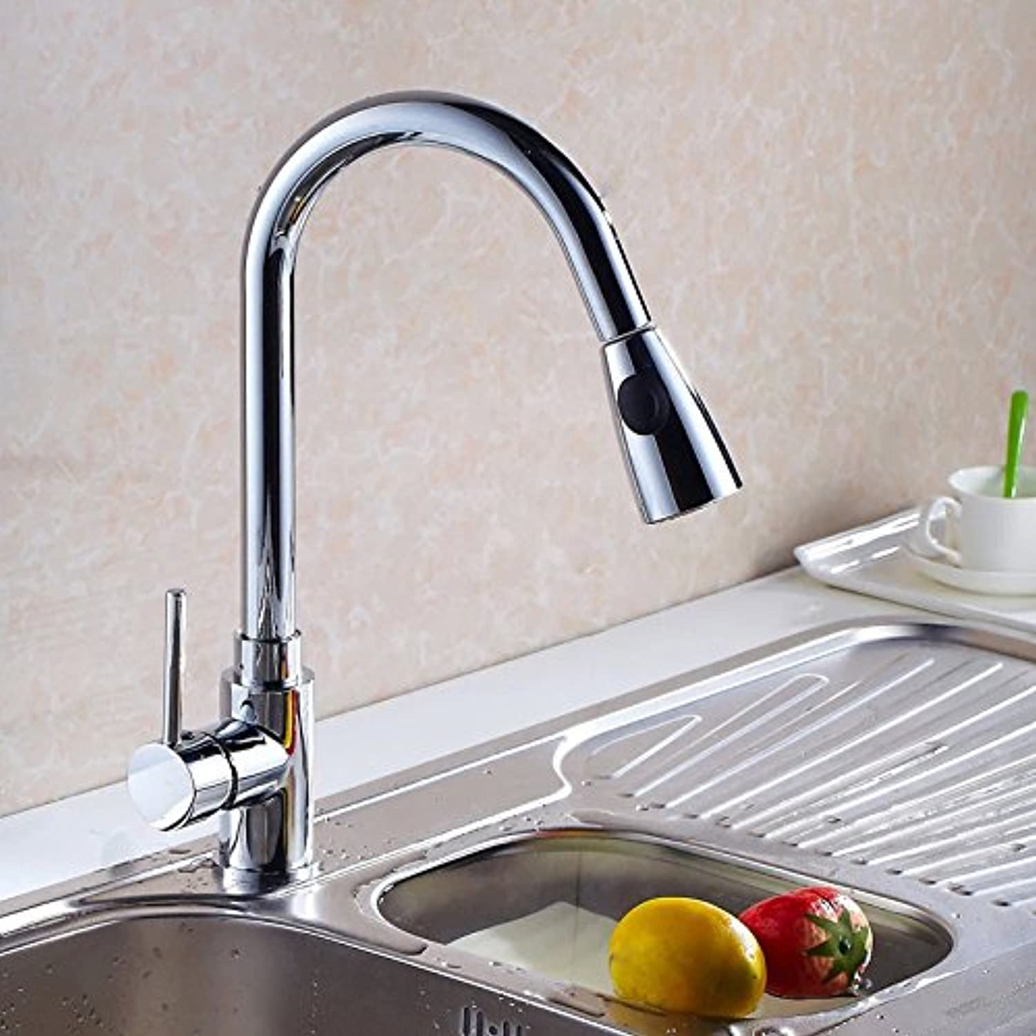 Commercial Single Lever Pull Down Kitchen Sink Faucet Brass Constructed Polished Sink Faucet Kitchen Faucet Kitchen Sink Faucet Multi-Function Pull Faucet Mixing Faucet